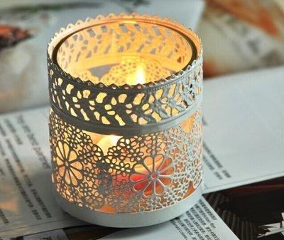 ❀蘇蘇 館❀歐式燭台白色燭台玻璃燭台鐵藝燭台擺件小夜燈燭燈蠟燭台