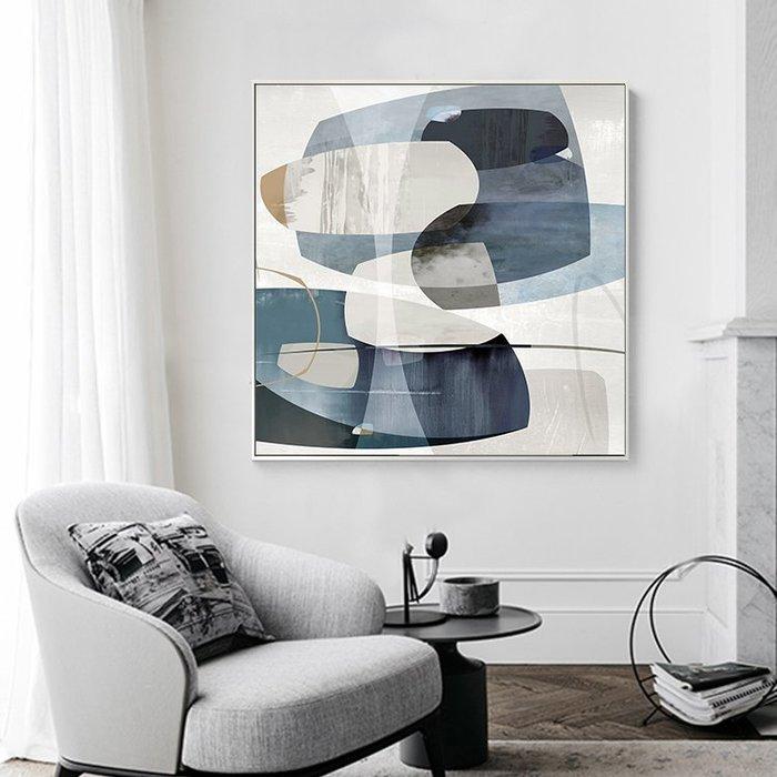 ABOUT。R  藍色調抽象裝飾畫簡約創意玄關掛畫壁畫餐廳墻畫北歐床頭畫設計師掛畫方形抽象藝術版畫歐美風格藝術設計裝飾畫