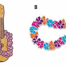(I LOVE 樂多) 日本進口 夏威夷 熱帶風格 花圈 吉他  布章 補丁 臂章