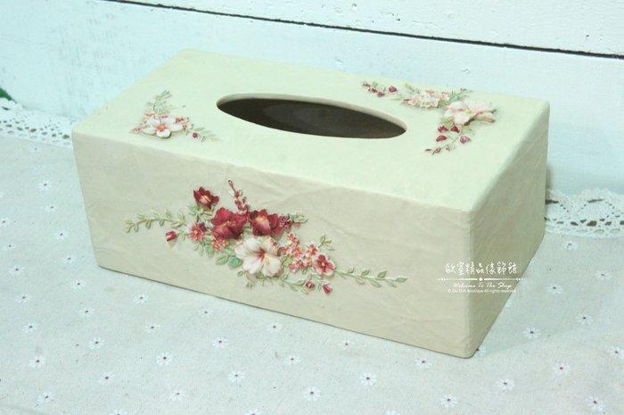 ~*歐室精品傢飾館*~鄉村風格 冷瓷 細工 花卉 維多利亞風 玫瑰 面紙盒 面紙套 居家 民宿 擺飾 裝飾~新款上市~