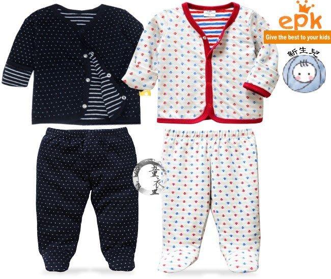 媽咪家【S023】S23包腳套裝 epk 新生兒 小童 長袖 前開 前釦 前扣 反折袖 包手 上衣 外搭 包腳褲 2件組