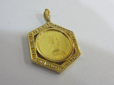 **二手** 1987楓葉金幣1/ 10盎司 黃K金外框 天然真鑽24顆 總重1.94錢 #6101