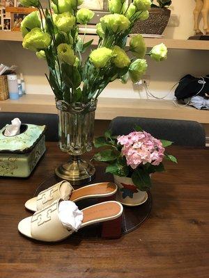 【全新正貨私家珍藏】TORY BURCH  INES MID-HEEL SLIDE 夏季拖鞋款