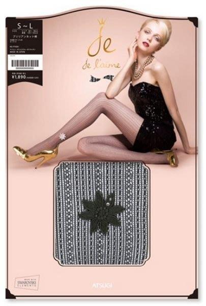 【拓拔月坊】厚木 ATSUGI Je l'aime  絲襪 水鑽 針織大花朵 銀蔥網襪 日本製~現貨!