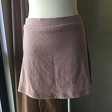 《寶兒花園》藕紫色運動風側條紋後口袋繡花字母鬆緊帶腰身A字迷你裙
