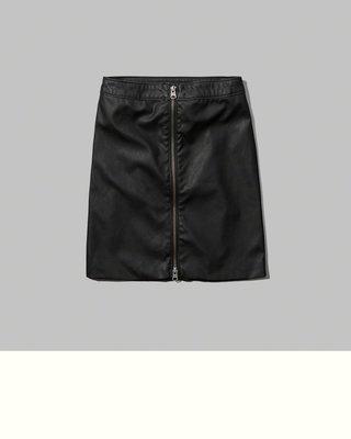 【天普小棧】A&F Abercrombie&Fitch Felicity Bodycon Skirt仿皮裙短窄裙黑色XS
