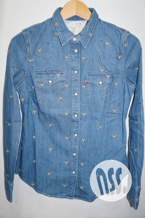 特價「NSS』LEVI'S LEVIS Double Stitch CNY Shirt 刺繡 水洗 牛仔襯衫 女S
