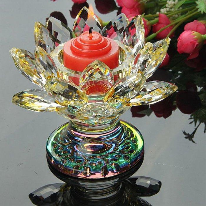 黃色水晶蓮花燭台酥油燈座玻璃水晶蓮花燈座K9