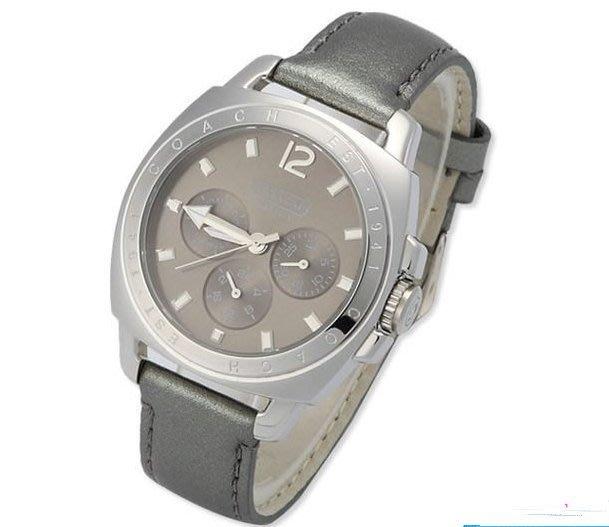 我愛名牌COACH包 美國100%正品【清倉低價出售購買兩件免運】14501215灰色皮帶腕錶大頭女錶