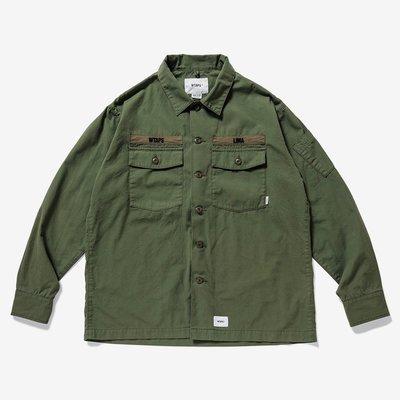 ♤ASENSERI♤ WTAPS BUDS LS SHIRT COTTON RIPSTOP 定番款軍式風格襯衫 軍綠 L