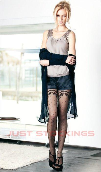 °☆就要襪☆°全新義大利品牌 OROBLU LIZZIE 仿蕾絲立體浮雕圖紋造型絲襪(20DEN)