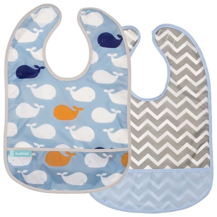 【兔寶寶部屋】加拿大原裝進口Kushies防水口袋圍兜-鯨魚+小山紋 2件組(適用1歲起)