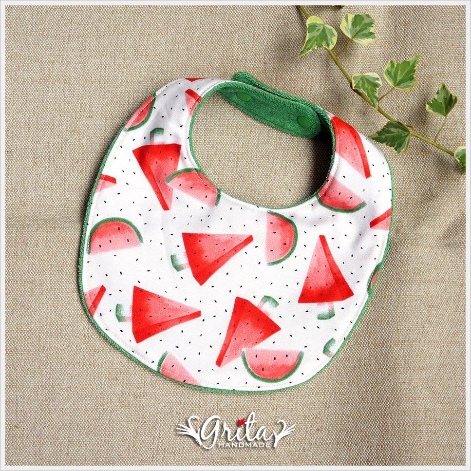 ♥gritas handmade♥純棉手作嬰幼兒圍兜兜/領巾/口水巾/三角巾/彌月禮—涼夏西瓜