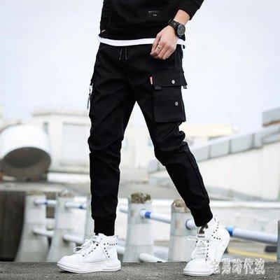 夏季黑色9九分工裝褲男士韓版修身薄款休閒褲潮男裝小腳褲哈倫褲 zh1122