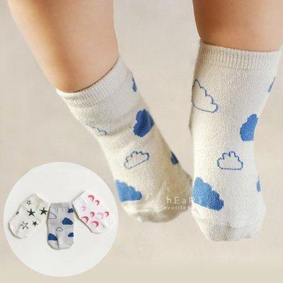 【可愛村】兒童防滑襪 童襪 止滑襪 韓國星月雲朵棉質止滑短襪