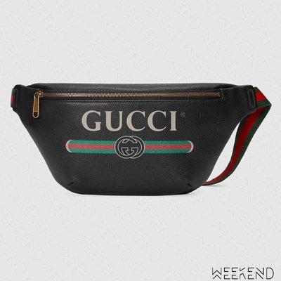 【WEEKEND】 GUCCI Logo 皮革 肩背包 斜背包 腰包 黑色 530412