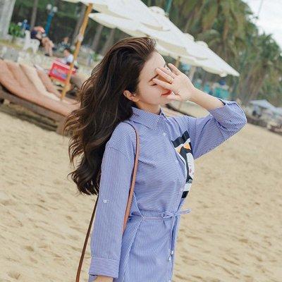 韓國學院風條紋顯瘦襯衫裙印花學生小清新長袖洋裝 下單送襪子或聖誕帽唷