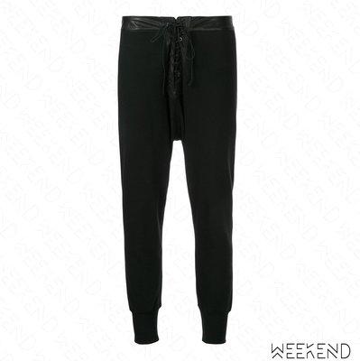 【WEEKEND】 UNRAVEL Lace Up 綁帶 棉質 休閒 長褲 黑色