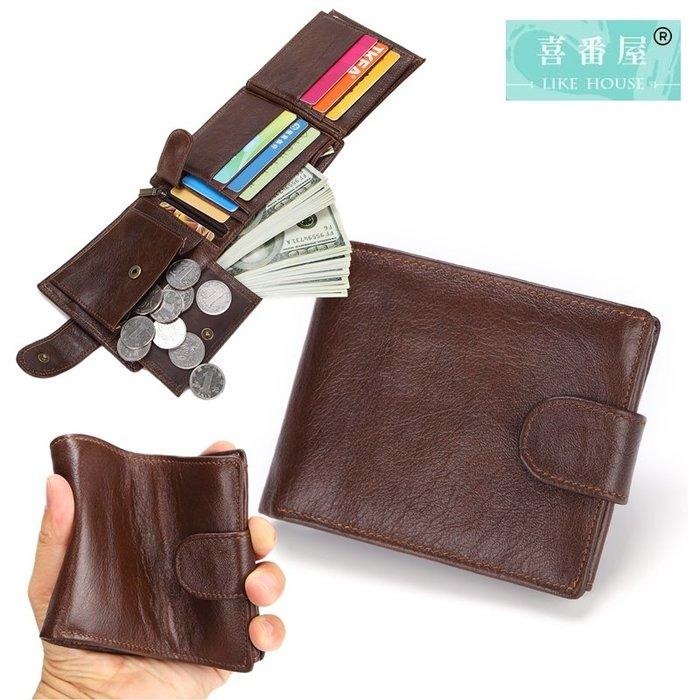 【喜番屋】真皮頭層牛皮復古12卡位男士皮夾皮包錢夾錢包短夾男夾【LH257】