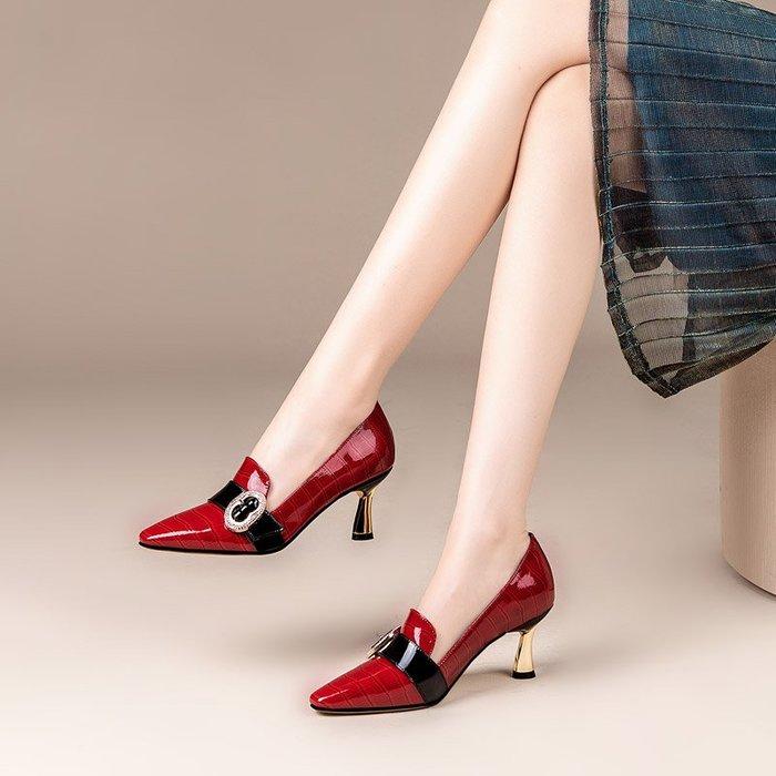 三本家~細跟單鞋女2020春秋款女士高跟鞋紅色尖頭百搭淺口四季鞋瓢鞋女鞋
