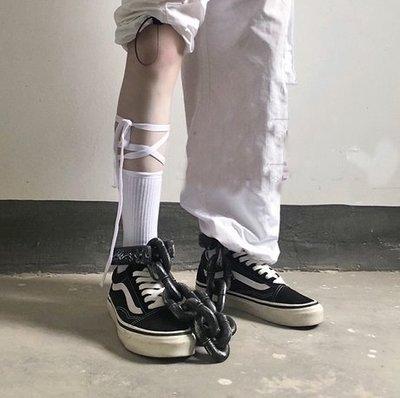 【黑店】原宿風個性綁帶小腿襪 愛怎麼綁就怎麼綁個性小腿襪 綁帶中筒襪 個性棉襪 學生中筒襪AC120