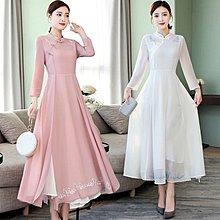 W105 - 包郵 - 中國風女裝新款復古中式仙氣禪意茶服禪民族風刺繡連衣裙 白色 粉色 S M L XL