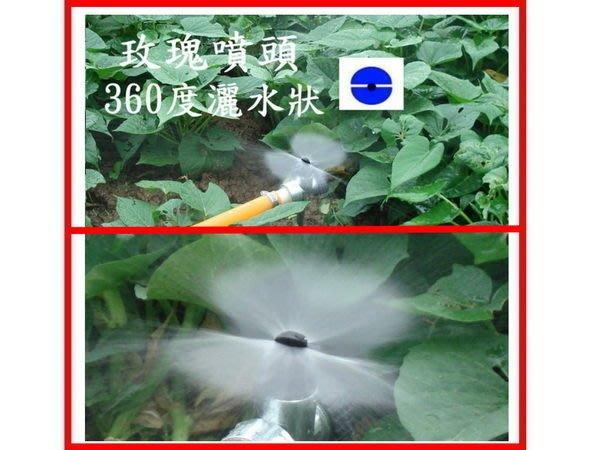 05-玫瑰噴頭+4分轉接頭+金屬座(適:火龍果溫室花卉花圃菜園竹筍灑水器短距離微細水花澆水噴灌-阿水灑水器