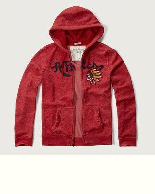 Maple麋鹿小舖 Abercrombie&Fitch * AF 紅色印地安貼布電繡連帽外套 * ( 現貨L號 )