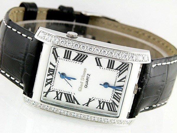 (六四三鐘錶精品店)GLOD STONE(真品)雙時區坦克手工爪鑲鑽錶.不銹鋼不退色不過敏