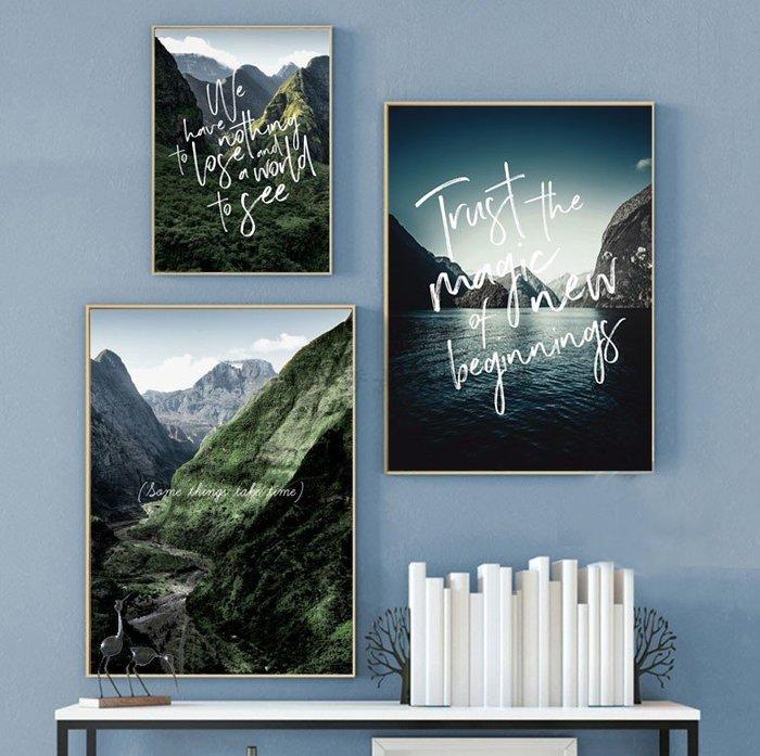 三幅一組油畫布 北歐山脈河流風景 畫芯/畫布/30X40☺暖暖屋☺傢居藝術館