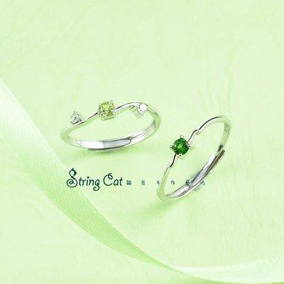 【String Cat】《新綠》925純銀天然透輝石戒指 橄欖石 彩寶 閨蜜禮物 清新 輕珠寶