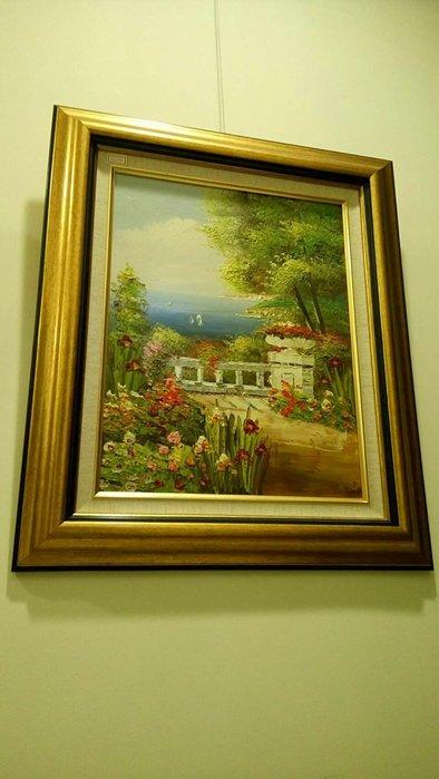 風景名家手繪油畫 筆觸細膩 非一般工匠作品 朋友畫廊收藏品 俗俗賣 原價6800 特惠4150 含金邊框60×50公分