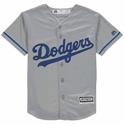 正品 MLB美國職棒 Majestic青年版 道奇 Los Angeles Dodgers Kershaw 灰色棒球衣