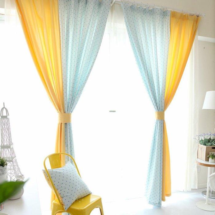 KIPO-訂製窗簾/瑪麗藍雙拼布藝窗簾韓式田園窗簾客廳臥室窗簾 訂製窗簾/WWW016107B