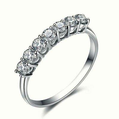 結婚鑽戒高碳鑽女款大七顆線戒適合莫桑鑽...