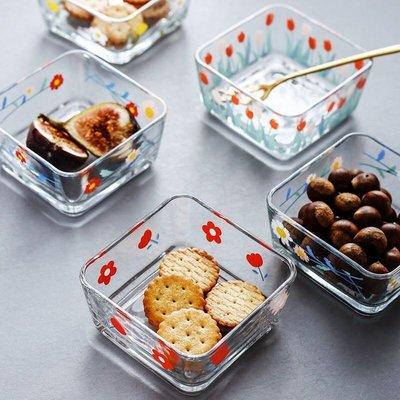 野餐趣~~韓國ins風雛菊花多沙拉碗 甜點碗 方型玻璃碗