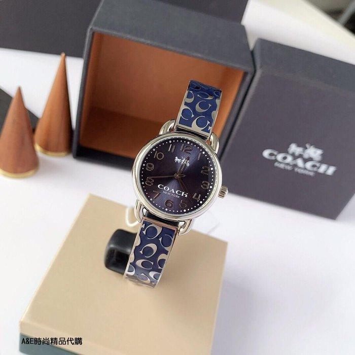 A&E精品代購COACH 寇馳 經典品牌LOGO 藍色手鐲手錶 潮流單品 美國代購
