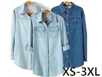 M92 胖MM水洗磨白中長款襯衫 淺藍純色牛仔襯衫 大尺碼XS-3XL