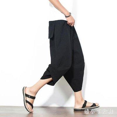 闊腿褲中大碼亞麻哈倫褲男寬鬆夏季中國風男士九分燈籠褲 XW3746