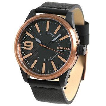 DIESEL DZ1841 手錶 47mm Rasp 玫瑰金錶殼 黑色面盤 皮錶帶 男錶女錶