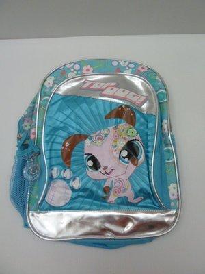 購於美國, 全新可愛 The Top Dog 天空藍印花, 銀色滾邊 雙肩帶後背包. 兩側網袋, 可愛拉環.
