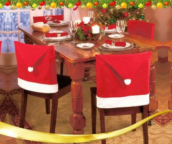 現貨實拍圖聖誕椅套聖誕節日用品 聖誕 餐桌裝飾家居禮品 聖誕節飯店裝飾 咖啡館聖誕裝飾品聖誕帽交換禮物生日禮物