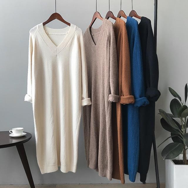 【D1109】5A11針織V領連身裙5色F.預購。小野千尋