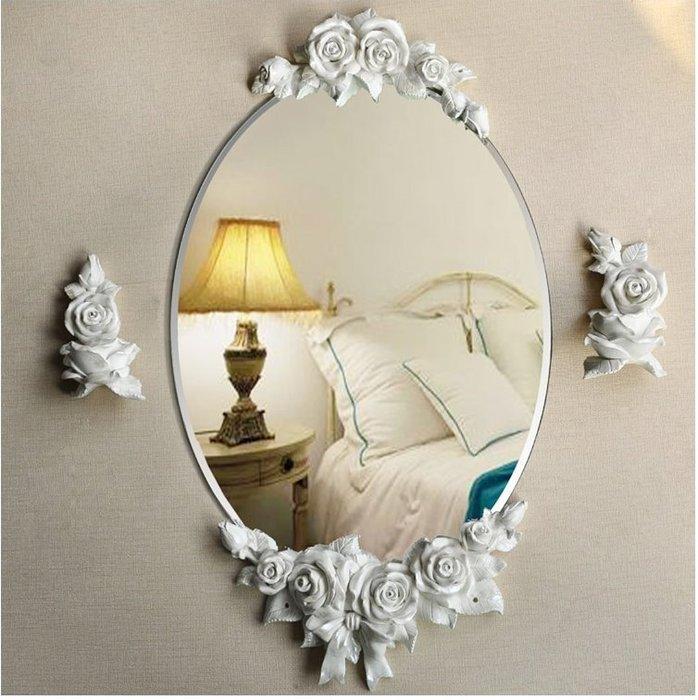 粉紅玫瑰精品屋~歐式立體玫瑰浴室掛鏡~現貨+預購