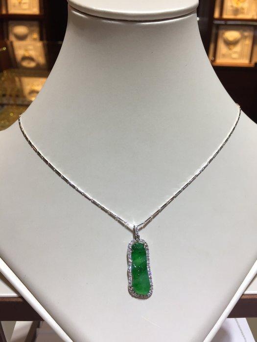 天然A貨冰種翡翠鉑金鑽石項鍊,顏色鮮綠清透,鑑賞價56800,加送鑑定書,顏色超綠超透時候平常佩戴