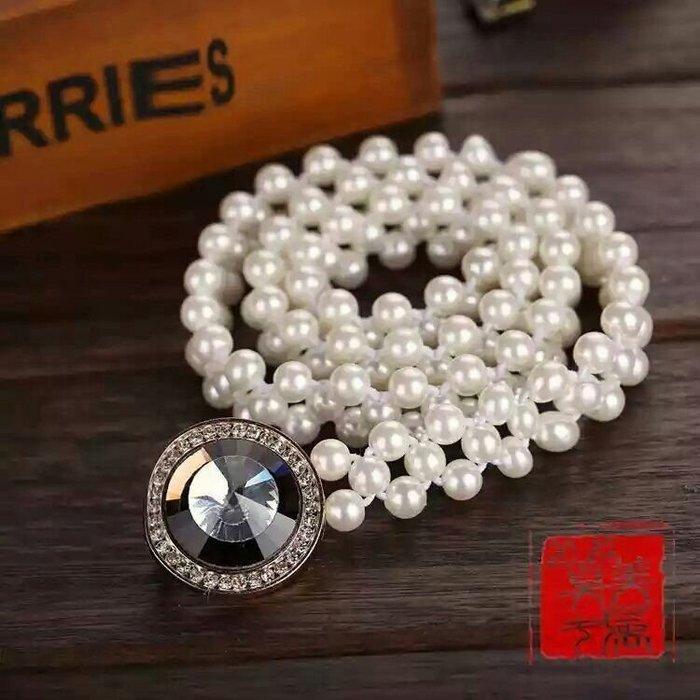 粉紅玫瑰精品屋~時尚寶石珍珠鬆緊腰帶~