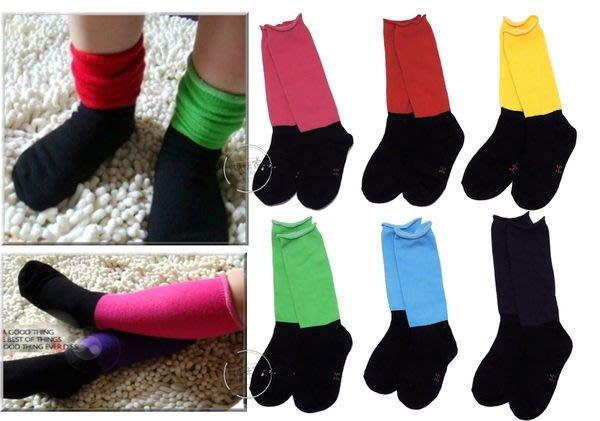 媽咪家【C065】C65黑底彩襪 亮麗 彩色 素面 耐髒 泡泡襪 短襪 長襪~14-18~1雙45元