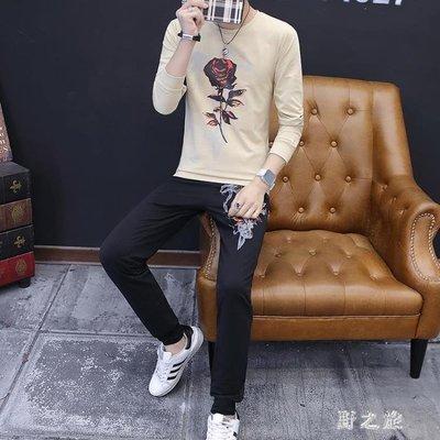 中大尺碼運動套裝男  青少年秋季新款休閑帥氣韓版潮流長袖長褲兩件套 KB11512