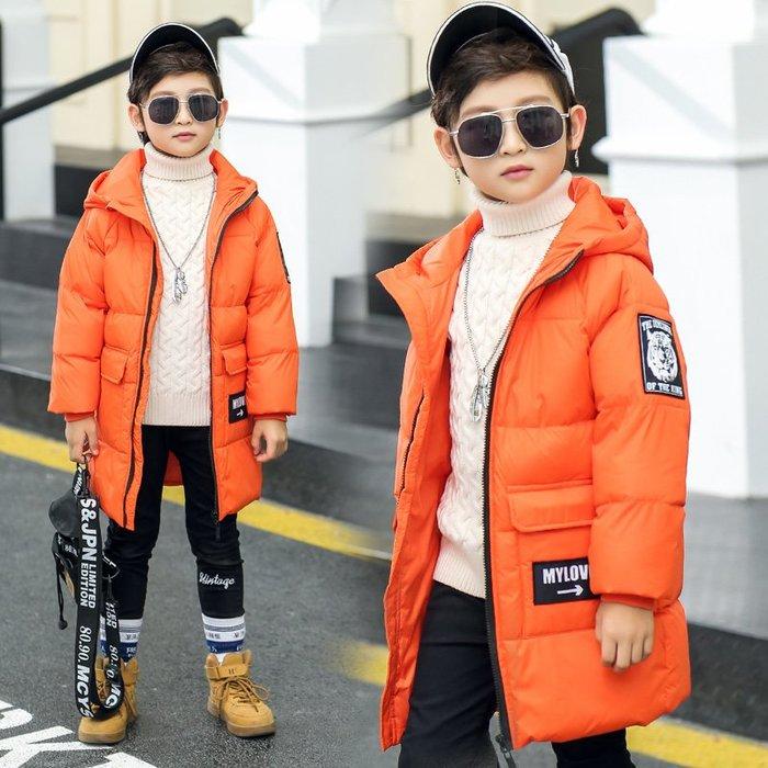 東大門平價鋪 . 新款中大童加厚白鴨羽絨服連帽外套,男童女童保暖中長款 羽絨服