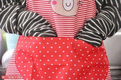 圍裙 成人廚房家務罩衣 卡通小熊點點條紋防汙圍裙